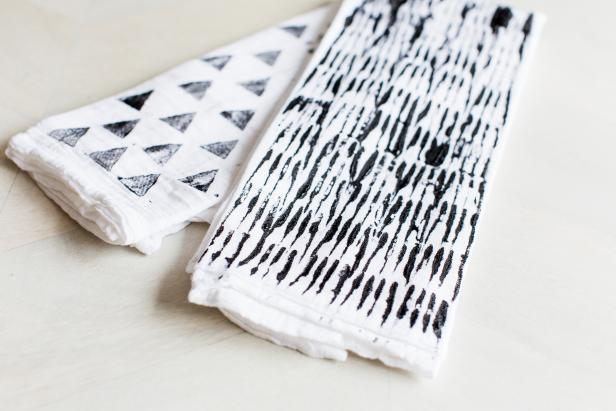 Hand-Stamped Patterned Towels