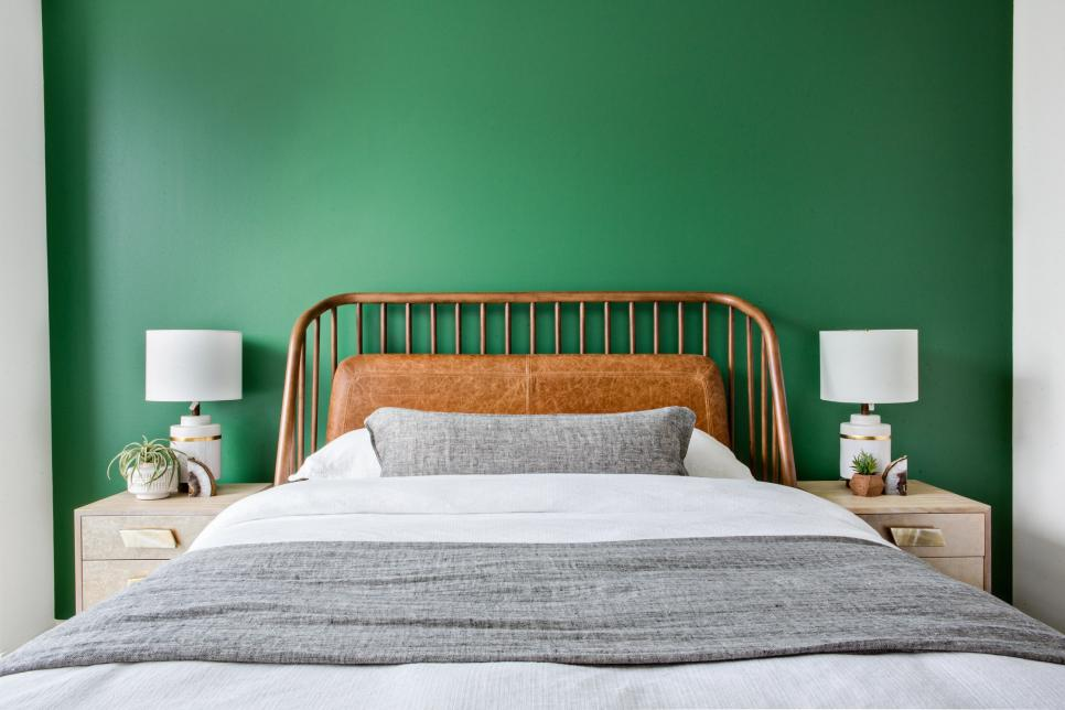 Green Wall Provides Nice Contrast to Warm Wood Headboard
