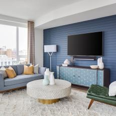 Modern Living Room Blue blue midcentury modern living room photos | hgtv