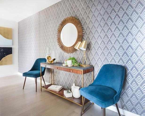 Blue Chairs on Either Side of Console Table