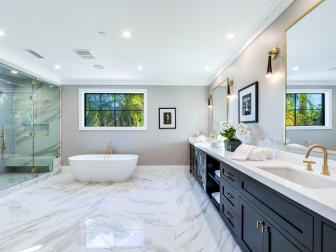 Luxurious Master Bath With Freestanding Tub, Marble Floor