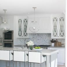 White Transitional Kitchen With Glass Pendants