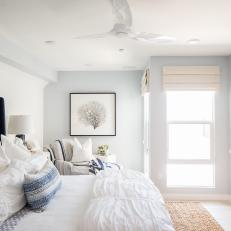 Contemporary Blue And White Bedroom With Blue Upholstered And Tufted Headboard