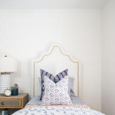 Contemporary White Guest Bedroom With Twin Bed And Upholstered Headboard