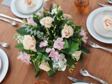 Create a gorgeous centerpiece for your next party from grocery store flowers and easy-to-use floral foam.