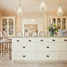 Traditional Neutral Kitchen Counter Detail With Multiple Bar Stool Seating