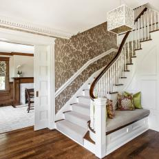 Foyer and Stairs With Vine Wallpaper