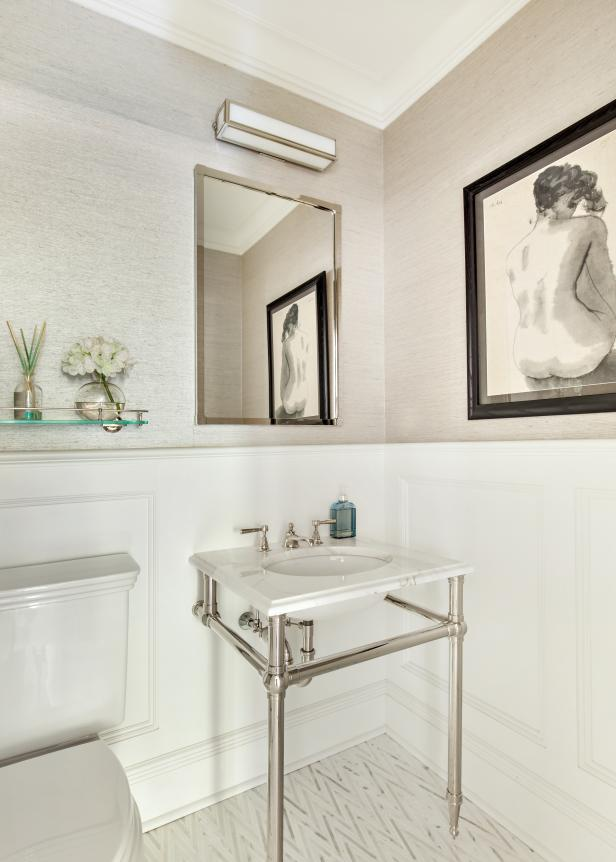 Powder Room With Chevron Floor