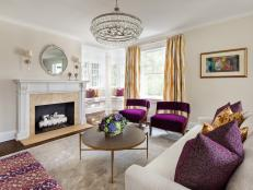 Neutral Contemporary Living Room With Purple Chairs