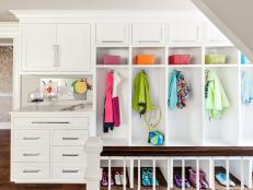 White Mudroom With Rainbow Baskets