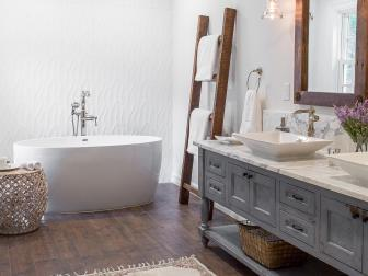 Neutral Cottage Spa Bathroom With Rustic Ladder
