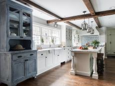 White Cottage Chef Kitchen With Gray Cabinet