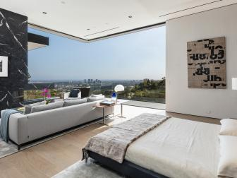 Modern Black and White Bedroom With Glass Wall