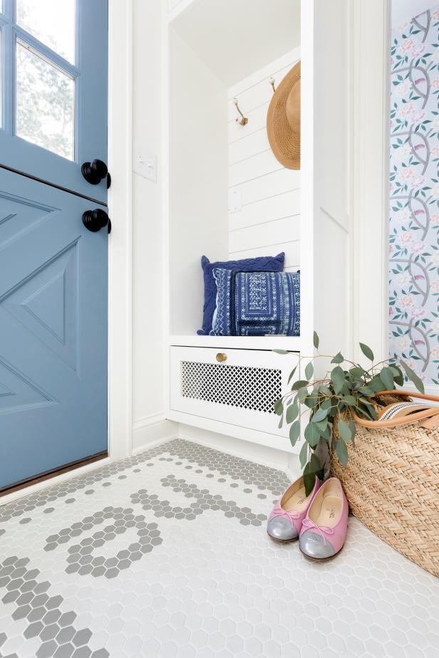 contemporary mudroom with blue Dutch door