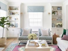 Blue-and-White Chairs Serve as Extra Seating