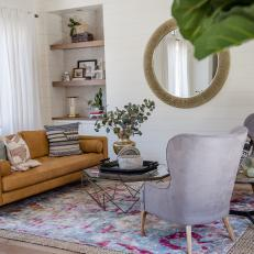 Layered Rugs Create Stylish Sitting Area