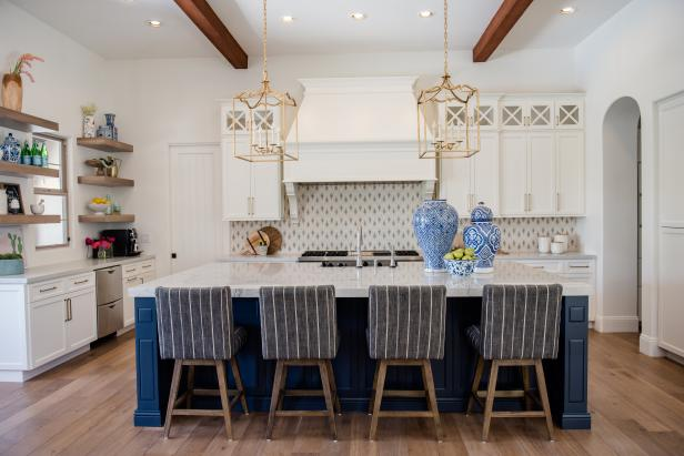 Open Concept Kitchen With Blue Island