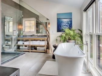 Soothing Master Bathroom With Soaking Tub