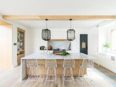 Wood Island, Wall Treatments Help Tie Kitchen Together