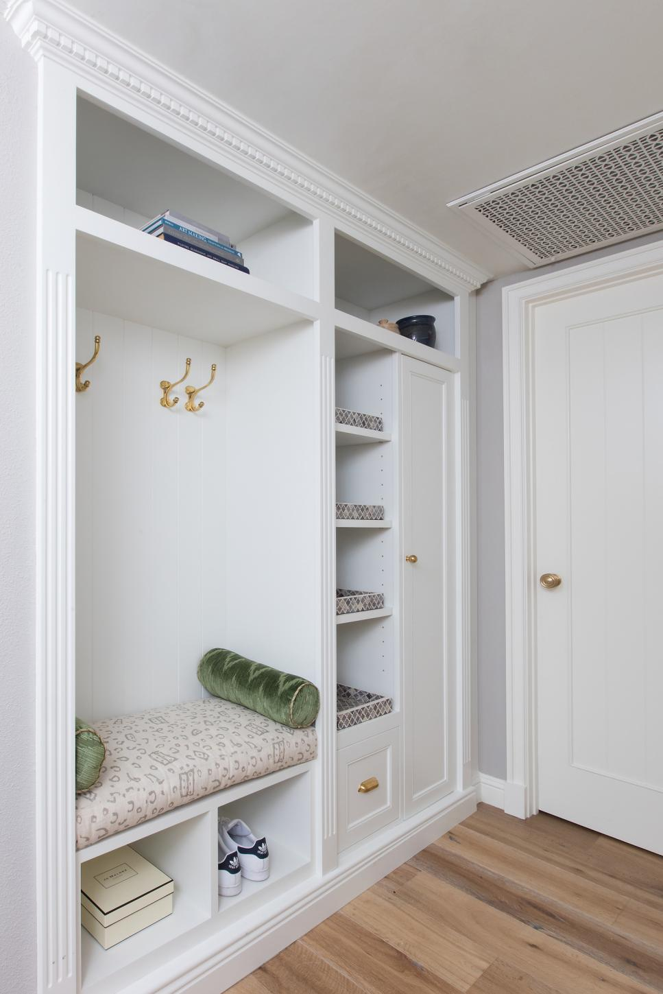transitional white mudroom