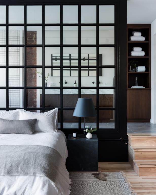 Bedroom With Black Steel Wall