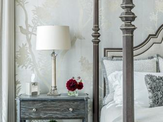 Silver Traditional Bedroom With Bird Wallpaper