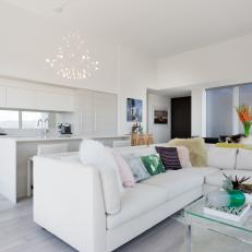 White Open Plan Living Room and Kitchen