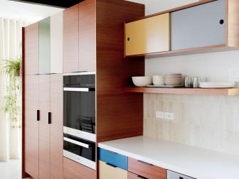 Midcentury Modern Kitchen With Color Block Cabinets