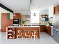 Multicolored Midcentury Modern Open Plan Kitchen