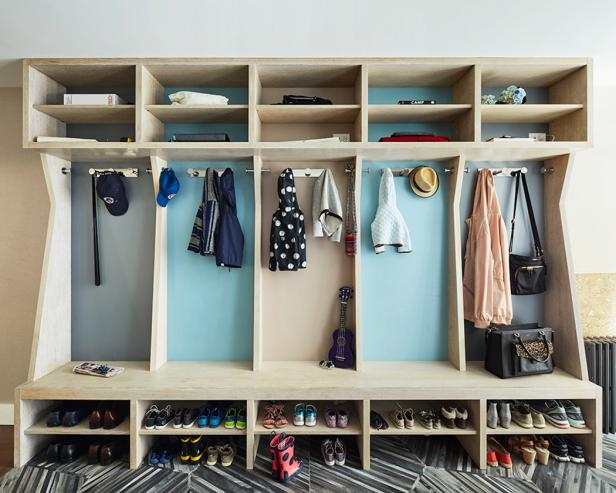 These Pale Wood Mudroom Cubbies Provide Storage for Shoes and Coats