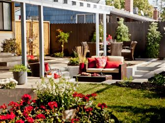 Backyard With Semi-Covered Two-Level Patio and Red Accents