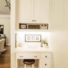 Traditional White Built In Desk And Cabinet