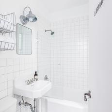 White Small Bathroom With Subway Tiles