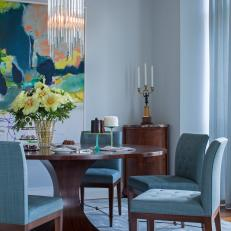 Contemporary Blue Dining Room With Wood Table And Upholstered Blue Dining Chairs