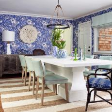 Blue Coastal Dining Room With Wallpaper