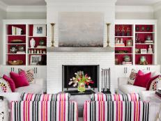 Pink and White Transitional Living Room With Striped Chairs