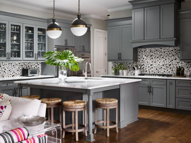 Chef Kitchen With Polka Dot Backsplash