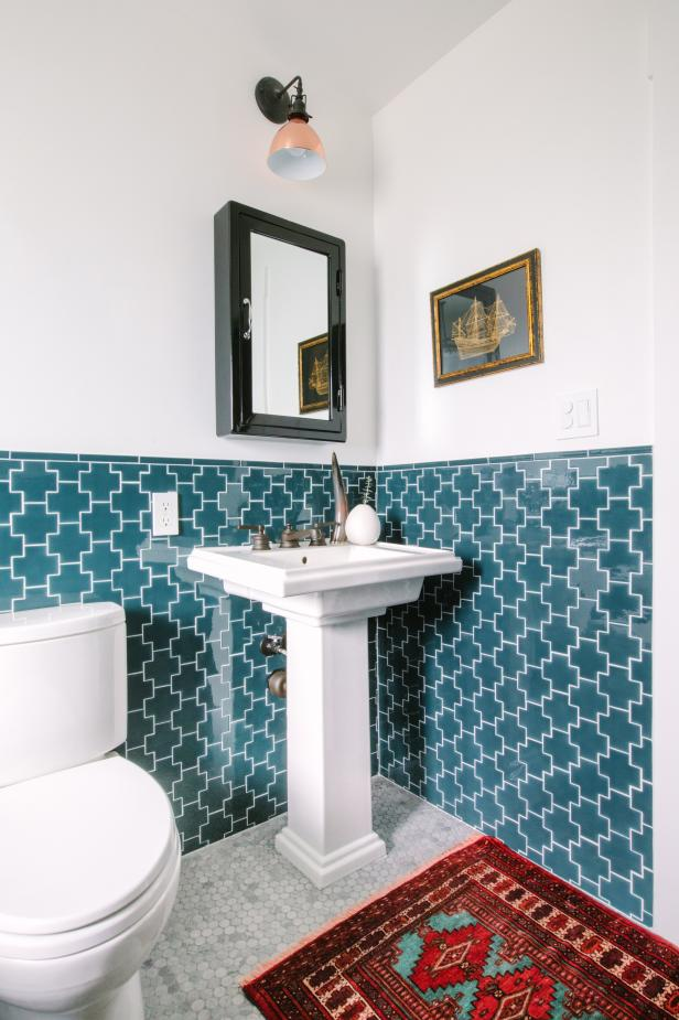 eclectic blue and white bathroom