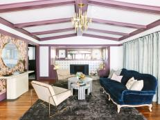 Edgy & Eclectic Living Room With Lilac Beams