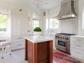 Pink and White Eclectic Kitchen With Geometric Floor
