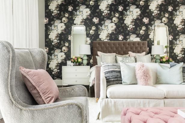 Contemporary Master Bedroom With Floral Wall And Upholstered Accents
