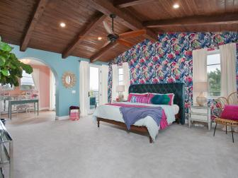 Multicolored Tropical Master Bedroom With Pink Pillow