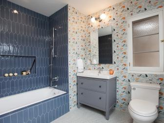 Gray and Orange Bathroom With Gray Tile
