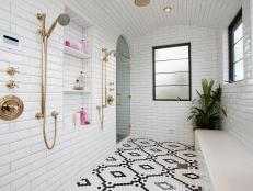 Black, White and Pink Walk-In Shower
