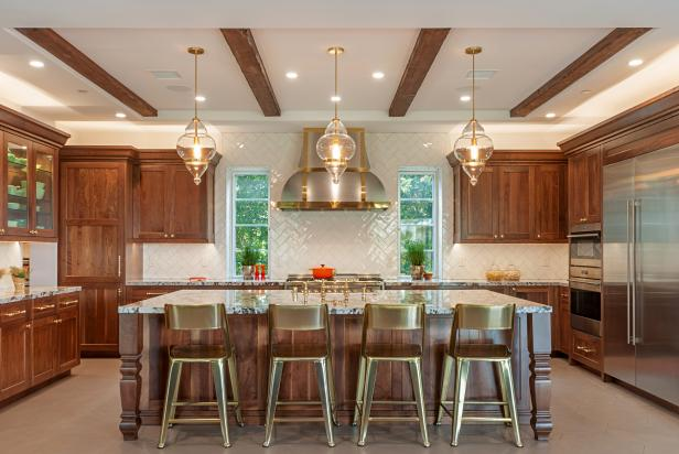 Chef Kitchen With Gold Stools