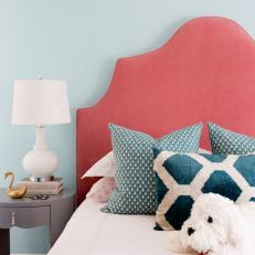 Blue Patterned Pillows Add Interest to Girls' Room