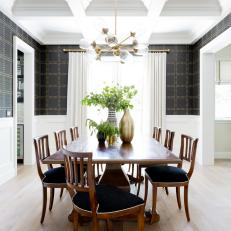 Black-and-White Dining Room With Coffered Ceilings