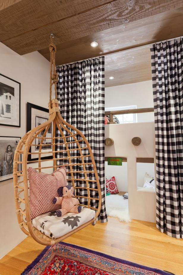 eclectic kids' room with swing chair