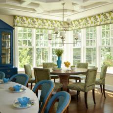 French Country Dining Room With Green Chairs