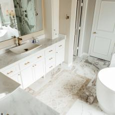 Contemporary White And Neutral Master Bathroom With Marble And Gold Accents